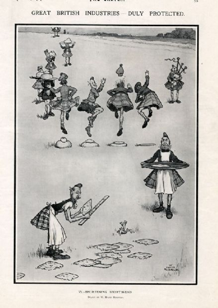 1909 Antique Print HEATH ROBINSON Scottish Highlanders Dancing SHORTENING SHORTBREAD Comical
